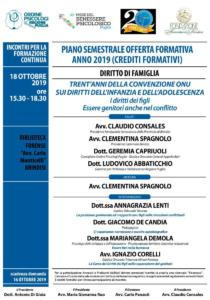 Sede di Brindisi - Trent'anni della Convenzione ONU sui diritti dell'infanzia e dell'adolescenza: i diritti dei figli, essere genitori anche nel conflitto