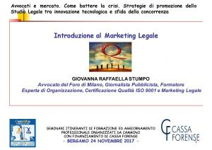 Avvocati e Mercato. Interviene Avv. Giovanna Raffaella Stumpo - Bergamo