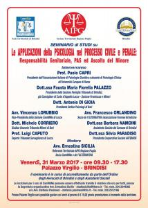 Sede di Brindisi - Le applicazioni della psicologia nel processo civile e penale